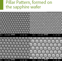 Pillar Pattern, formed on the sapphire wafer